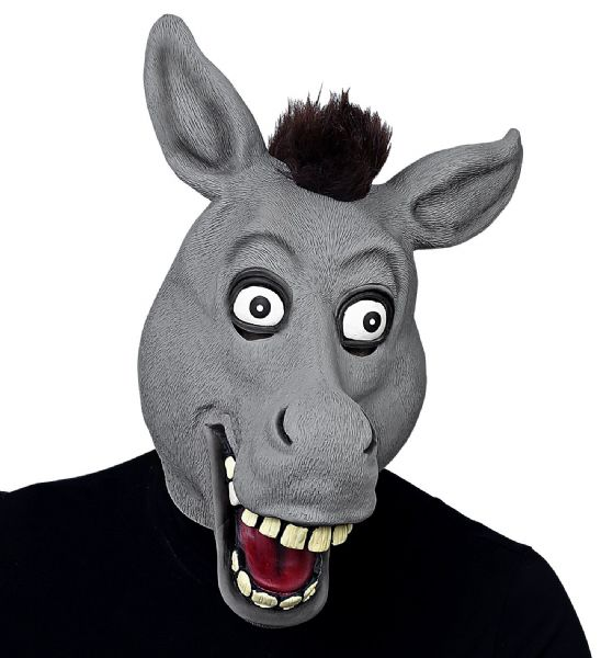 BIG EYES DONKEY FULL HEAD MASK WITH PLUSH HAIR Latex Mask Fancy Dress